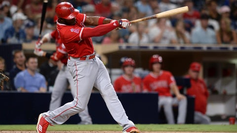 <p>               Los Angeles Angels' Justin Upton hits a two-run home run during the fifth inning of a baseball game against the San Diego Padres, Tuesday, Aug. 14, 2018, in San Diego. (AP Photo/Orlando Ramirez)             </p>