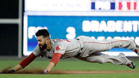 <p>               Boston Red Sox starting pitcher Rick Porcello dives into second base after hitting a double off Philadelphia Phillies starting pitcher Nick Pivetta during the third inning of a baseball game, Tuesday, Aug. 14, 2018, in Philadelphia. (AP Photo/Matt Slocum)             </p>