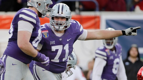 <p>               FILE - In this Jan. 2, 2016, file photo, Kansas State offensive lineman Dalton Risner (71) gestures at the line of scrimmage during the first half of the Liberty Bowl NCAA college football game  against Arkansas in Memphis, Tenn. Risner has a future in the NFL. But he also hopes his future includes the growth and development of his foundation, RiseUp, which aims to provide hope and inspire young people. Eventually, he wants to establish a series of football-centric summer camps for kids that come from a variety of backgrounds.  (AP Photo/Mark Humphrey, File)             </p>