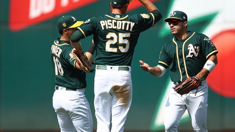 <p>               From left, Oakland Athletics' Chad Pinder, Stephen Piscotty (25) and Ramon Laureano celebrate a win over the Houston Astros at the end of a baseball game Saturday, Aug. 18, 2018, in Oakland, Calif. (AP Photo/Ben Margot)             </p>