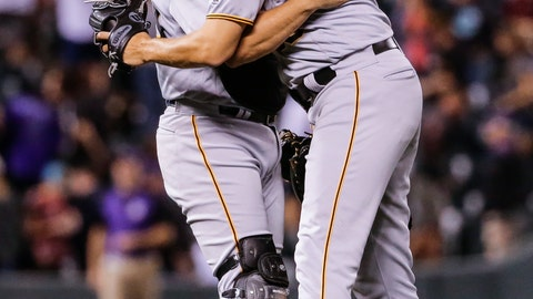 <p>               Pittsburgh Pirates starting pitcher Jameson Taillon hugs catcher Francisco Cervelli after the team's baseball game against the Colorado Rockies, Tuesday, Aug. 7, 2018, in Denver. Taillon threw a complete game and the Pirates defeated the Rockies 10-2. (AP Photo/Jack Dempsey)             </p>