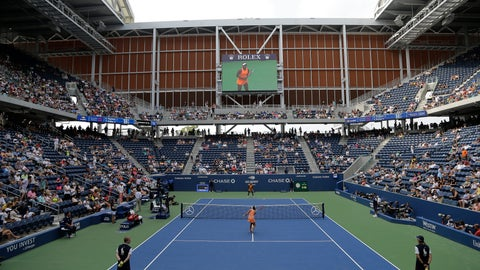<p>               Evgeniya Rodina, of Russia, foreground, and Sloane Stephens warm-up to play in Louis Armstrong Stadium during the first round of the U.S. Open tennis tournament, Monday, Aug. 27, 2018, in New York. (AP Photo/Julio Cortez)             </p>