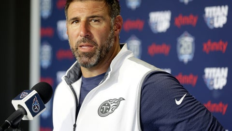 <p>               FILE - In this July 27, 2018, file photo, Tennessee Titans head coach Mike Vrabel answers questions during a news conference after a practice at NFL football training camp in Nashville, Tenn. The NFL tapped Vrabel to narrate a video detailing the new lowering the head to initiate contact rule, hoping the man who played 14 years as a linebacker in the league could more easily explain how players should adapt. (AP Photo/Mark Humphrey, File)             </p>