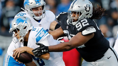 <p>               Detroit Lions quarterback Matt Cassel, left, is sacked by Oakland Raiders nose tackle P.J. Hall (92) during the first half of an NFL preseason football game in Oakland, Calif., Friday, Aug. 10, 2018. (AP Photo/John Hefti)             </p>