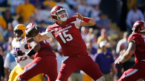 <p>               FILE - In this Nov. 11, 2017, file photo, Arkansas quarterback Cole Kelley (15) passes in the second half of an NCAA college football game against LSU in Baton Rouge, La. (AP Photo/Gerald Herbert)             </p>