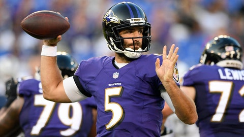 <p>               Baltimore Ravens quarterback Joe Flacco throws to a receiver in the first half of a preseason NFL football game against the Los Angeles Rams, Thursday, Aug. 9, 2018, in Baltimore. (AP Photo/Nick Wass)             </p>