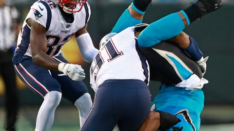 <p>               Carolina Panthers' Cam Newton, right, fumbles the ball as he lands on his head after being hit by New England Patriots' Deatrich Wise (91) during the first half of a preseason NFL football game in Charlotte, N.C., Friday, Aug. 24, 2018. The Panthers recovered the ball. (AP Photo/Jason E. Miczek)             </p>