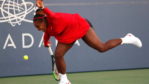 <p>               Serena Williams, of the United States, reacts after missing a shot from Johanna Konta, of Britain, during the Mubadala Silicon Valley Classic tennis tournament in San Jose, Calif., Tuesday, July 31, 2018. Konta won 6-1, 6-0. (AP Photo/Tony Avelar)             </p>