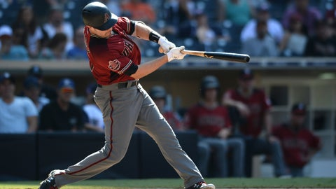 <p>               Arizona Diamondbacks' A.J. Pollock hits a home run during the ninth inning of a baseball game against the San Diego Padres Sunday, Aug. 19, 2018, in San Diego. (AP Photo/Orlando Ramirez)             </p>