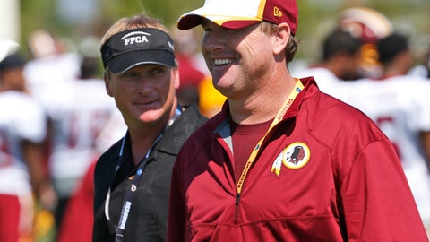 "<p>               FILE - In this July 25, 2014, file photo, ESPN broadcaster and former NFL coach Jon Gruden, left, walks with his brother, Washington Redskins head coach Jay Gruden, after practice at the team's NFL football training facility in Richmond, Va. With Jon leaving ""Monday Night Football"" to return to the sideline after a decade away, and Jay entering his fifth season, they will join the Harbaughs as the only sets of siblings to simultaneously hold jobs as NFL head coaches. (AP Photo, File)             </p>"