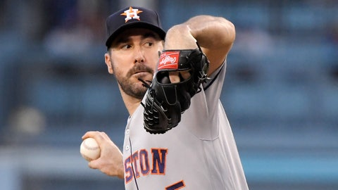 <p>               Houston Astros starting pitcher Justin Verlander throws during the first inning of the team's baseball game against the Los Angeles Dodgers on Friday, Aug. 3, 2018, in Los Angeles. (AP Photo/Mark J. Terrill)             </p>