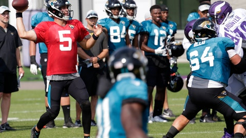 <p>               Jacksonville Jaguars' Blake Bortles throws under pressure from the Minnesota Vikings' defense during NFL football practice in Eagan, Minn., Wednesday, Aug. 15, 2018. (AP Photo/Andy Clayton-King)             </p>