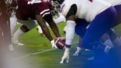 <p>               Texas A&M defenders line up against Northwestern State with the ball spotted at the 25-yard line after a fair catch was called on the opening kickoff of an NCAA college football game Thursday, Aug. 30, 2018, in College Station, Texas. Under a new rule, if a fair catch is made on a kick inside the 25, it's a touchback. A fair catch beyond the 25 is marked at that spot, like on a punt. A muffed fair catch also is marked at the spot regardless of which team recovers. The purpose is to increase the number of touchbacks on kickoffs as a way to enhance player safety. Research has shown kick returns are among the most dangerous plays. (AP Photo/Sam Craft)             </p>
