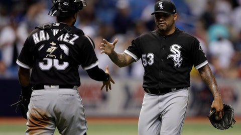<p>               Chicago White Sox relief pitcher Hector Santiago (53) celebrates with catcher Omar Narvaez after the White Sox defeated the Tampa Bay Rays 3-2 in 10 innings in a baseball game Friday, Aug. 3, 2018, in St. Petersburg, Fla. (AP Photo/Chris O'Meara)             </p>