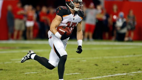 <p>               Tampa Bay Buccaneers' Adam Humphries (10) runs 109-yards for a touchdown on a missed field goal by Detroit Lions kicker Matt Prater during the first half of an NFL preseason football game Friday, Aug. 24, 2018, in Tampa, Fla. (AP Photo/Mark LoMoglio)             </p>