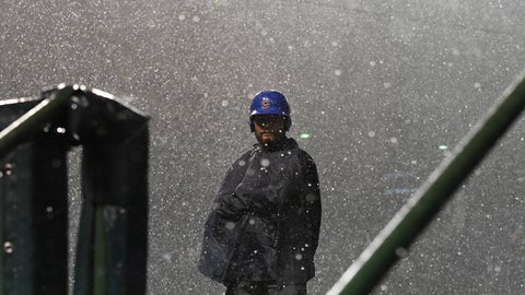 <p>               A Chicago Cubs' security guard stands in a storm during a rain delay in the 10th inning of a baseball game against the New York Mets on Tuesday, Aug. 28, 2018, in Chicago. (AP Photo/Matt Marton)             </p>