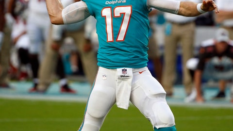 <p>               Miami Dolphins quarterback Ryan Tannehill (17) looks to throw during the first half of the team's NFL preseason football game against the Tampa Bay Buccaneers, Thursday, Aug. 9, 2018, in Miami Gardens, Fla. (AP Photo/Wilfredo Lee)             </p>