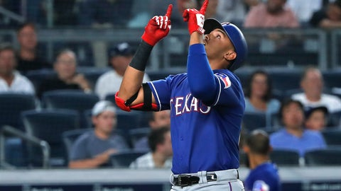 <p>               Texas Rangers' Ronald Guzman reacts as he crosses the plate after hitting a solo home run against the New York Yankees during the fourth inning of a baseball game Friday, Aug. 10, 2018, in New York. (AP Photo/Julie Jacobson)             </p>