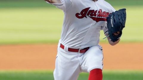 <p>               Cleveland Indians starting pitcher Corey Kluber delivers in the first inning of a baseball game against the Los Angeles Angels, Saturday, Aug. 4, 2018, in Cleveland. (AP Photo/Tony Dejak)             </p>