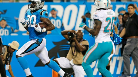 <p>               Carolina Panthers' Ian Thomas (80) runs past Miami Dolphins' Reshad Jones (20) for a touchdown in the first half of a preseason NFL football game in Charlotte, N.C., Friday, Aug. 17, 2018. (AP Photo/Nell Redmond)             </p>