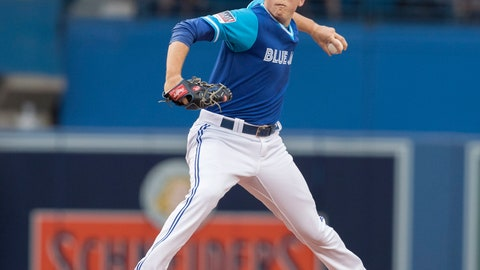 <p>               Toronto Blue Jays starting pitcher Ryan Borucki throws to a Philadelphia Phillies batter during the first inning of a baseball game Friday, Aug. 24, 2018, in Toronto. (Fred Thornhill/The Canadian Press via AP)             </p>