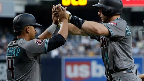 <p>               Arizona Diamondbacks' Paul Goldschmidt, right, is greeted by Eduardo Escobar after hitting a two-run home run during the first inning of a baseball game against the San Diego Padres on Friday, Aug. 17, 2018, in San Diego. (AP Photo/Gregory Bull)             </p>