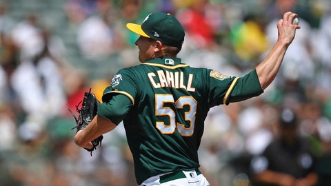 <p>               Oakland Athletics pitcher Trevor Cahill works against the Houston Astros in the first inning of a baseball game Saturday, Aug. 18, 2018, in Oakland, Calif. (AP Photo/Ben Margot)             </p>