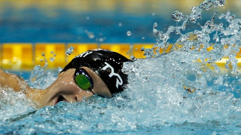<p>               Katie Ledecky of the U.S., swims in the women's 1500m freestyle timed final during the Pan Pacific swimming championships in Tokyo, Sunday, Aug.12, 2018.(AP Photo/Koji Sasahara)             </p>