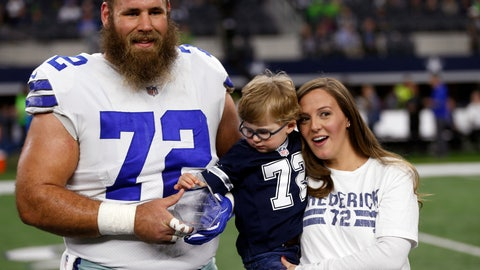 <p>               FILE - In this Dec. 24, 2017, file photo, Dallas Cowboys center Travis Frederick (72), and his wife Kaylee, right, pose for a photo as their son Oliver, reaches out to the NFL Man of the Year team nominee award presented to Frederick before an NFL football game against the Seattle Seahawks, in Arlington, Texas. Frederick's revelation that he is battling a rare neurological disorder will reverberate on and off the field for the Dallas Cowboys. They're likely to begin the season without their stalwart at center, and without knowing what will happen with their teammate's recovery. (AP Photo/Ron Jenkins, File)             </p>