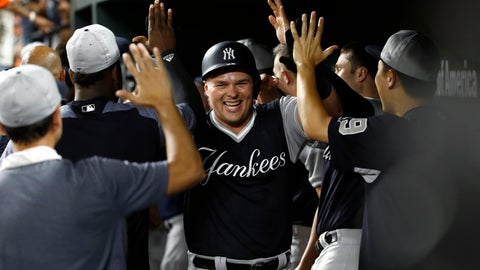 <p>               New York Yankees' Luke Voit, center, high-fives teammates in the dugout after hitting a two-run home run in the 10th inning of a baseball game against the Baltimore Orioles, Friday, Aug. 24, 2018, in Baltimore. (AP Photo/Patrick Semansky)             </p>