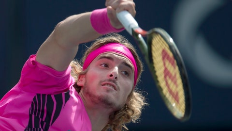 <p>               Stefanos Tsitsipas of Greece serves to Kevin Anderson of South Africa during Rogers Cup semifinal tennis tournament action in Toronto on Saturday, Aug. 11, 2018 in Montreal. (Frank Gunn/The Canadian Press via AP)             </p>