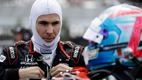 <p>               Robert Wickens prepares to qualify for Sunday's IndyCar series auto race, Saturday, Aug. 18, 2018, in Long Pond, Pa. (AP Photo/Matt Slocum)             </p>