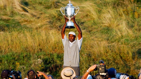 <p>               FILE - In this April 15, 2004, file photo, Vijay Singh holds up the Wanamaker Trophy after winning the 86th PGA Championship at Whistling Straits in Haven, Wis. Singh is the only player in his 40s to have won the PGA Championship since 1984.  (AP Photo/Jeff Roberson, File)             </p>