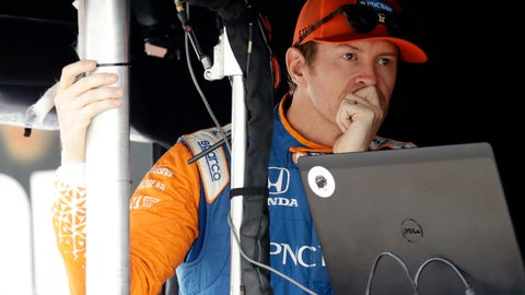 <p>               Scott Dixon waits in his pit box before a practice session for Sunday's IndyCar series auto race, Saturday, Aug. 18, 2018, in Long Pond, Pa. (AP Photo/Matt Slocum)             </p>