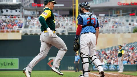 <p>               Oakland Athletics' Matt Chapman, left, scores past Minnesota Twins catcher Mitch Garver as he scored on a two-run double by Jed Lowrie in the fifth inning of a baseball game Sunday, Aug. 26, 2018, in Minneapolis. (AP Photo/Jim Mone)             </p>