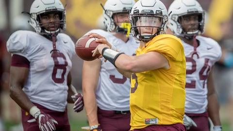 <p>               FILE - In this Aug. 7, 2018, file photo, Minnesota quarterback Zack Annexstad throws a pass during NCAA college football practice in Minneapolis. Annexstad won the starting quarterback job at Minnesota as a true freshman. Now comes the hard part, trying to boost a lagging passing game for the Gophers. Annexstad's debut comes on Thursday night in the season opener against New Mexico State. (Elizabeth Flores/Star Tribune via AP, File)             </p>