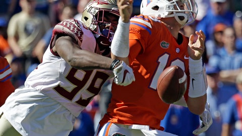 <p>               FILE- In this Nov. 25, 2017, file photo, Florida State defensive end Brian Burns (99) strips the ball from Florida quarterback Feleipe Franks (13) during the first half of an NCAA college football game, in Gainesville, Fla. Burns saw a drop-off in production in his sophomore season as his sack totals dipped from 9.5 to 4.5. But a change to a more aggressive, attacking defense with first-year coordinator Harlon Barnett should help the speedy Burns, who thinks that he and the Seminoles' defensive line will have a big season. (AP Photo/John Raoux, File)             </p>
