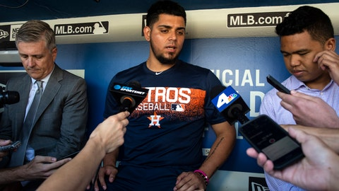 <p>               Houston Astros relief pitcher Roberto Osuna is interviewed in the dugout before a baseball game against the Los Angeles Dodgers in Los Angeles, Sunday, Aug. 5, 2018. Osuna served a 75-game suspension for violating Major League Baseball's domestic violence policy. (AP Photo/Kyusung Gong)             </p>