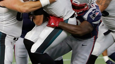 <p>               New England Patriots defensive tackle Adam Butler, right, sacks Philadelphia Eagles quarterback Nick Foles during the first half of a preseason NFL football game, Thursday, Aug. 16, 2018, in Foxborough, Mass. (AP Photo/Mary Schwalm)             </p>