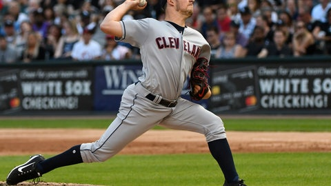 <p>               Cleveland Indians starting pitcher Trevor Bauer delivers against the Chicago White Sox during the first inning of a baseball game Saturday, Aug. 11, 2018, in Chicago. (AP Photo/Matt Marton)             </p>