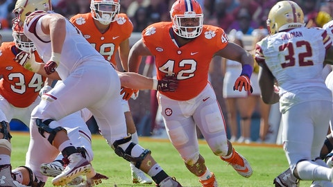 <p>               FILE - In this Sept. 23, 2017, file photo, Clemson's Christian Wilkins (42) defends during the first half of an NCAA college football game against Boston College, in Clemson, S.C. Wilkins was selected to the AP Preseason All-America team, Tuesday, Aug. 21, 2018. (AP Photo/Richard Shiro, File)             </p>