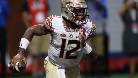 <p>               FILE - in this Sept. 2, 2017, file photo, Florida State quarterback Deondre Francois carries against Alabama during the second half of an NCAA college football game in Atlanta. Francois is happy to be playing football again and is trying to get his job back. He's back on the practice field after injuring his knee in a season-opening loss to Alabama last fall and sitting out the rest of the year. (AP Photo/John Bazemore, File)             </p>