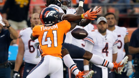 <p>               Denver Broncos cornerback Isaac Yiadom (41) breaks up a pass intended for Chicago Bears wide receiver Kevin White during the first half of a preseason NFL football game, Saturday, Aug. 18, 2018, in Denver. (AP Photo/Jack Dempsey)             </p>