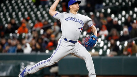 <p>               FILE - In this April 10, 2018, file photo, Toronto Blue Jays relief pitcher Roberto Osuna throws to a Baltimore Orioles batter during a baseball game in Baltimore. Houston Astros manager A.J. Hinch has met privately with the team's owner and general manager ahead of Osuna being activated following a 75-game suspension for violating Major League Baseball's domestic violence policy. Hinch says Osuna will join the Astros in Los Angeles on Sunday, Aug. 5, and be activated for the series finale against the Dodgers. The Astros acquired the right-handed reliever from the Blue Jays at the trade deadline this week. (AP Photo/Patrick Semansky, File)             </p>