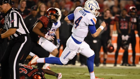 <p>               FILE - In this Oct. 14, 2017, file photo, Boise State quarterback Brett Rypien (4) breaks away from San Diego State defenders on a long run during the first half of an NCAA college football game, in San Diego.  Rypien is about to become a rarity in college football, a quarterback with the skill from the outset of his arrival on campus to be the starter for the vast majority of his four years at Boise State. (AP Photo/Denis Poroy, File)             </p>