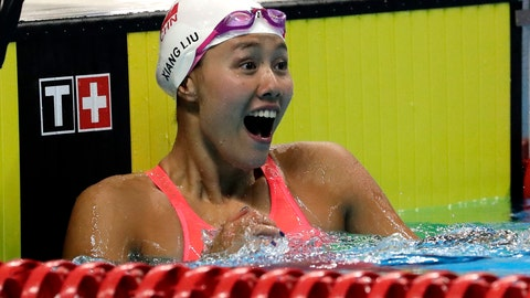 <p>               China's Liu Xiang celebrates after winning the women's 50m backstroke final during the swimming competition at the 18th Asian Games in Jakarta, Indonesia, Tuesday, Aug. 21, 2018. (AP Photo/Lee Jin-man)             </p>
