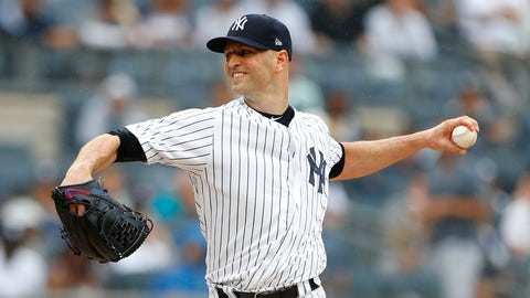 <p>               New York Yankees starting pitcher J.A. Happ pitches in the first inning of a baseball game against Toronto Blue Jays, Sunday, Aug. 19, 2018 in New York. (AP Photo/Noah K. Murray)             </p>
