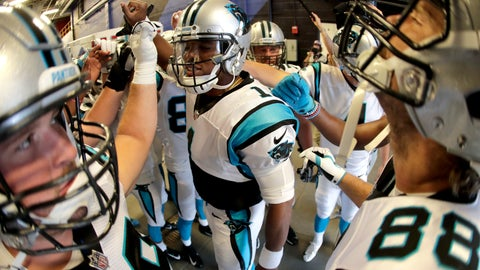 <p>               Carolina Panthers quarterback Cam Newton, center, gives a pep talk to his team before taking the field prior to an NFL football game against the Buffalo Bills, Thursday, Aug. 9, 2018, in Orchard Park, N.Y. (AP Photo/Julio Cortez)             </p>