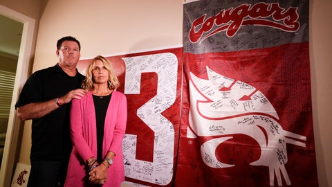<p>               Mark and Kym Hilinski pose for a picture at their home Tuesday, Aug. 21, 2018, in Irvine, Calif. The parents of Washington State quarterback Tyler Hilinski, who killed himself in Pullman, Wash., in January, have become advocates for greater awareness of mental health issues among student-athletes and are channeling their energy into Hilinski's Hope, a foundation created to bring resources to bear on the issues. (AP Photo/Chris Carlson)             </p>