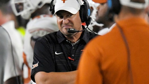 <p>               FILE - In this Sept. 16, 2017, file photo, Texas coach Tom Herman stands on the sideline during the second half of an NCAA college football game against Southern California in Los Angeles. Herman has spent an entire off-season swatting away questions whether it will be him or offensive coordinator Tim Beck will call the plays for the Longhorns. (AP Photo/Mark J. Terrill, File)             </p>